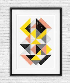 abstract art print geometric print wall art  abstract, scandinavian design print