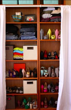 Don't have a closet? Use a shelf! Here's a cute way to make it more pleasing on the eye!