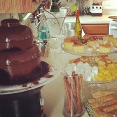 Wine & cheese party.  Brushes & beverages.  Chocolate fountain