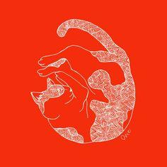 【Curl up cat】#illust #catart #design #猫 #cat #イラスト #猫デザイン #猫イラスト #細密画 #猫の絵 Cat Art, Illustration Art, Cats, Gatos, Cat, Kitty, Kitty Cats