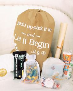 Margaux and Patrick's mothers put together these welcome bags, complete with a House of Pain reference printed on the front. #welcomebags #weddingwelcomebags #diywelcomebags #weddingideas | Martha Stewart Weddings - This Couple Mixed Western Style with Bohemian Accents for Their Wedding in Aspen, Colorado
