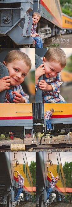 3 year old boy photos on a train. pose ideas. Colorado Railroad Museum. Pickleberry Photography: 3rd Birthday Session
