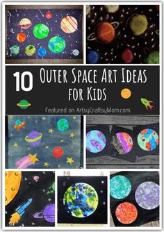 10 Outer Space Art Ideas that are Out of this World Want to create art that's out of this world? Look no further than these amazing outer space art ideas for kids – these are stunning enough to frame! Space Activities For Kids, Art Activities, Outer Space Crafts For Kids, Space Kids, Space Crafts Preschool, Planets Preschool, Kids Crafts, Space Space, Deep Space