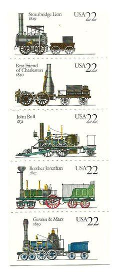 1987 Steam Locomotives - Strip of 5 - Unused US Postage Stamp Old Stamps, Vintage Stamps, Rail Transport, Postage Stamp Art, Steam Engine, Steam Locomotive, Stamp Collecting, Model Trains, Coins