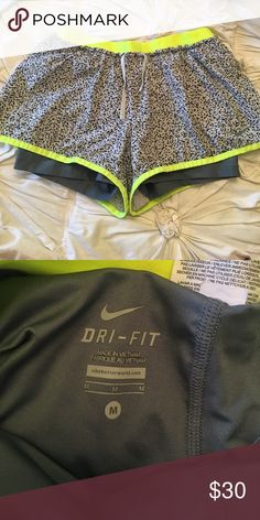 NIKE DRI-FIT SHORT WITH BUILT IN SPANDEX- WOMENS Printed Nike workout shorts with lime green trimming & waist band- GREY built in spandex Nike Shorts