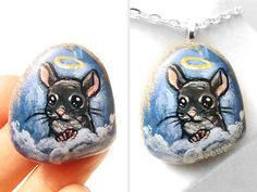 Chinchilla Necklace Pet Portrait Stone Angel by rainbowofcrazy