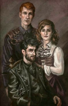 The Golden Trio Harry Potter Books, Fanart Harry Potter, Harry Potter Hermione Granger, Ron Weasley, Harry Potter Artwork, Harry Potter Drawings, Harry Potter Universal, Harry Potter Fandom, Harry Potter World