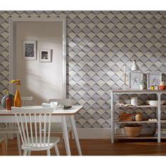 Géométrie en relief gris clair - Papier peint Illusion 2 de Montecolino  #design #wallpaper #deco http://www.papierspeintsdirect.com/papier-peint/collection-illusion-2/marque-montecolino.html