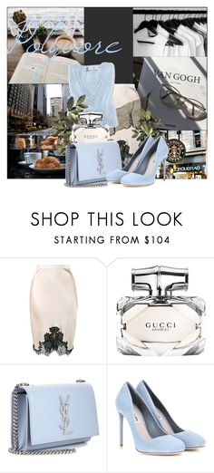 """""""Blue Sky"""" by lysianna ❤ liked on Polyvore featuring Helmut Lang, Gucci, Yves Saint Laurent, Miu Miu and Blue"""