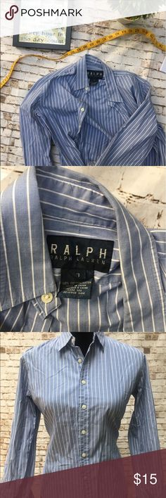 Ralph Lauren Womens Button Down Collared Shirt S8 Stylish long sleeves by RL. Pair it with white shorts or distressed jeans and your set for the day! Please look closely as this has few white bleached spots that's really not visible 1) on the right inside cuff you wouldn't notice unless you open the cuff 2)tiny tiny spot on body mid front Ralph Lauren Tops Tees - Long Sleeve