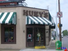 HUEYS Restaurant in Memphis, TN. Enjoy an awesome burger and shoot tooth pics into the ceiling here!