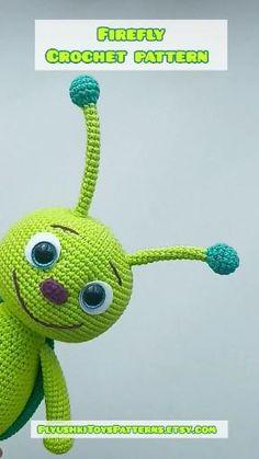 Firefly easy crochet pattern - New Ideas Octopus Crochet Pattern, Crochet Animal Patterns, Stuffed Animal Patterns, Crochet Patterns Amigurumi, Amigurumi Doll, Crochet Dolls, Crochet Stitches, Crochet Baby, Free Crochet