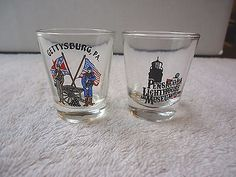 Vintage Lot Of 2 Shot Glasses,1,Gettysburg PA.,1,Pensacola Lighthouse And Museum #vintage #collectibles #home #kitchen