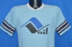 Vintage 70s Vail Colorado Ski Skiing Light Blue Ringer Jersey T Shirt Small