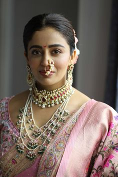 Neha Pendse's 7 layered necklace with a choker looked perfect for the wedding season Neha's wedding jewellery handcrafted by Narayan Jewellers in pastel shades to match her Nauvari. Indian Bridal Photos, Indian Bridal Fashion, Marathi Bride, Marathi Wedding, Marathi Nath, Neha Pendse, Nauvari Saree, Wedding Jewelry Sets, Wedding Accessories