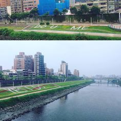 Do you  me Yes I do New romantic decor next to the #keelungriver. I hope it helps increase birth rates. #taiwan  很浪漫吧