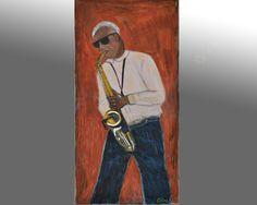 tableau peinture originale urbaine pastel New York Jazzman par Celinemodernart sur Etsy