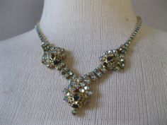 Vintage Blue Rhinestone Necklace   1960s Gold by ladyscarletts