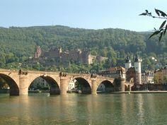 Heidelberg,Germany. Heidelberg castle in the background and ancient Olde Stone Bridge in foreground.