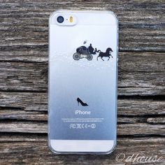 MADE IN JAPAN Hard Clear Case with Cinderella Carriage art for iPhone SE
