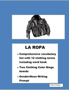This Clothing package is very helpful to teach clothing to students. The package includes  - Vocabulary worksheet with twelve clothing items and Word bank. This worksheet includes the determinate articles in Spanish el, la , las, los. You can use this worksheet to teach students about gender and feminine .
