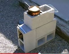 """How to make a """"FOUR BLOCK"""" Rocket Stove! Easy DIY. Four concrete blocks is all it takes to make it!. Cost $5.16. video shows you how to put it together. the stove funnels all its heat up under the bottom of the pan. uses very little fuel."""