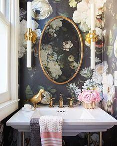9 crazy wallpaper ideas for your bathroom - everything you need to . - 9 crazy wallpaper ideas for your bathroom – everything you need to turn your house into a home Bad Inspiration, Bathroom Inspiration, Bathroom Ideas, Bathroom Vanities, Bathroom Cabinets, Gold Bathroom, Bathroom Small, Bathroom Designs, Bathroom Tray