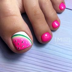 50 Cool Tropical Nails Designs For Summer Tropical Toe Nail Designs With Jucy Watermelon Tropical nails are the best design for summertime madness since summer is the time of sun bea Simple Toe Nails, Pretty Toe Nails, Cute Toe Nails, Summer Toe Nails, Diy Nails, Summer Pedicures, Gel Toe Nails, Acrylic Nails, Cute Toes
