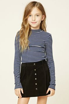 Forever 21 Girls - A ribbed knit top featuring a stripe pattern, a mock neck, and long sleeves.