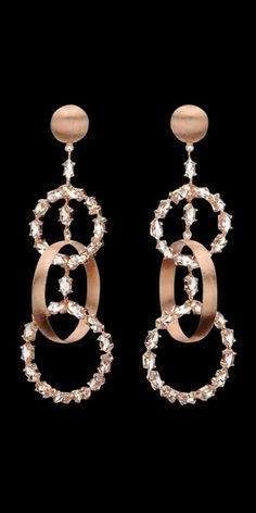 Carla Amorim - Pink gold with colorless topaz earrings