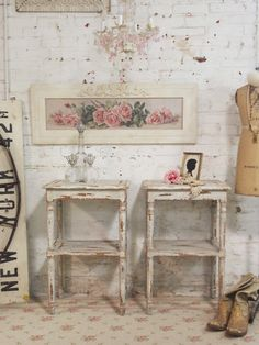 beautiful shaby chc frence paintings | Painted Cottage Chic Pair of Shabby Chic Romantic French Night