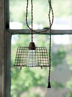 Plug into a timer and use very low watt bulb could be a night light. Wire Berry Basket Pendant Light