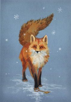 Red Fox in Winter Art by BoggartOwl Fuchs Illustration, Art And Illustration, Illustrations, Animal Paintings, Animal Drawings, Fuchs Baby, Image Halloween, Fuchs Tattoo, Fantastic Fox