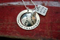 Baseball Mom Sterling Silver Personalized Necklace Pendant with ball.