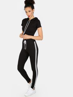 Online shopping for Sporty Crop Top Matching Set BLACK from a great selection of women's fashion clothing & more at MakeMeChic.COM.