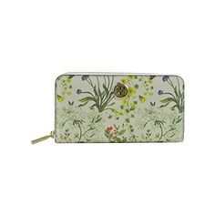 Tory Burch Robinson Watercolor Plant Flower Print Zip Around Long... ($180) ❤ liked on Polyvore featuring bags, wallets, multicolor, zip around wallet, colorful wallets, floral print wallet, flower print bag and long wallet