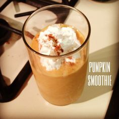 Healthy Pumpkin Smoothie. Perfect Fall Drink.
