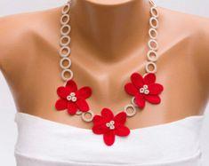 Collar de oya con cuentas collar crochet collar de por SenasShop