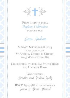 Modern patterns christening or baptim invitation for baby boy with cross.