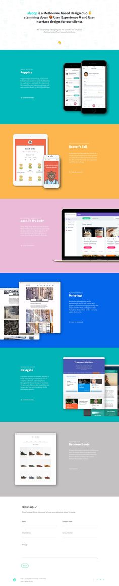 Clean One Page redesign for Melbourne based design duo, Alyoop. The Single Page site features colorful project sections that all link to Dribbble. Great to see the progression, especially the design, since I originally featured them back in 2014.