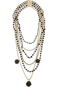 Rosantica | Lucia gold-tone, onyx and volcanic lava necklace | NET-A-PORTER.COM