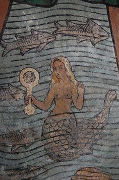 Mermaid on Fresco, St Olaf's church, Poughill
