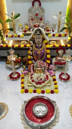 Varalakshmi Vratham 2019 honours the most popular Goddess Maha Lakshmi. Varalakshmi Puja or homam on this day means abundant wealth is sure to come your way. Diwali Decorations At Home, Festival Decorations, Flower Decorations, Wedding Decorations, Decor Wedding, Mandir Decoration, Ganapati Decoration, Gauri Decoration, Silver Pooja Items