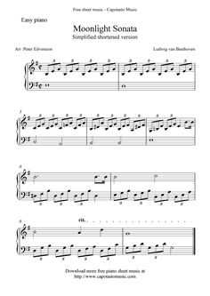 Free Sheet Music Scores: Free easy piano sheet music, Moonlight Sonata by Beethoven Free Piano Sheets, Easy Piano Sheet Music, Music Sheets, Piano Sheet Music Classical, Easy Piano Songs, Free Printable Sheet Music, Free Sheet Music, Piano Lessons, Music Lessons