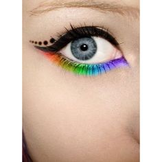 Rainbow Eye Shadow For Spring Best Eyes Makeup Tips ❤ liked on Polyvore featuring beauty products, makeup and bright makeup