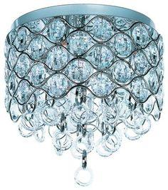 Seven Light Polished Chrome Beveled Crystal Glass Bowl Flush Mount contemporary-ceiling-lighting