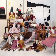 Lots of little #mermagdolls all set up at @artehauscollectif today dressed and ready to meet new friends! Come over and say hi!! I'll be here until 4 pm with friends @wrenandjames and @monpetitshoes. by mer_mag