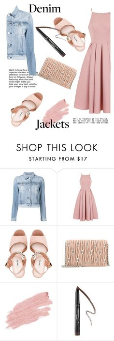 """""""chic with denim"""" by fashion12girl ❤ liked on Polyvore featuring 3x1, Chi Chi, Miu Miu, Jane Iredale, Givenchy, denimjackets and WardrobeStaples"""