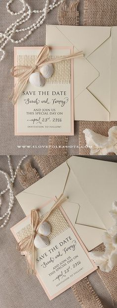 Please Save the Date ! Beach Wedding Save the Date Seashells Card #beachwedding #destinationwedding