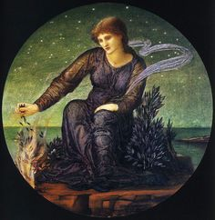 Sir Edward Burne-Jones, Hero Lighting the Beacon for Leander, 1875-77